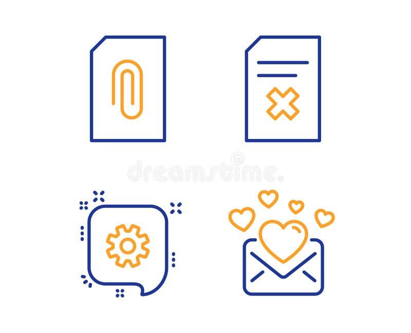 Sistema de los iconos del fichero de la rueda dentada, del accesorio y de la cancelaci?n Muestra del correo del amor La ingenier? ilustración del vector
