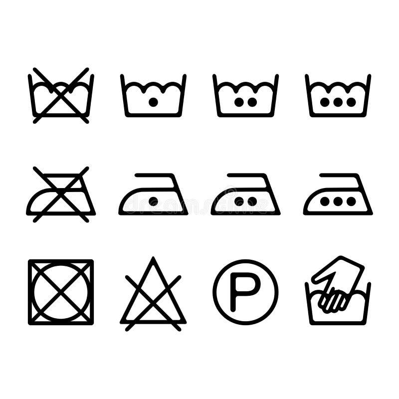 Sistema de los iconos del lavadero de la instrucción, símbolos que se lavan stock de ilustración