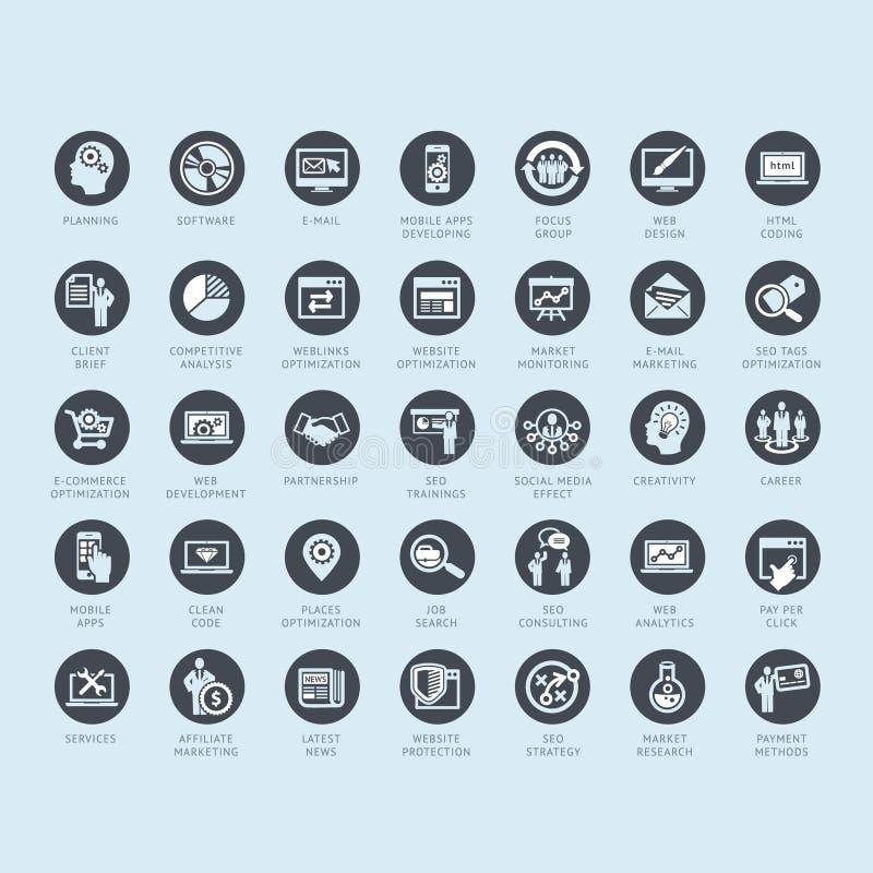 Sistema de los iconos del negocio para los medios y la publicidad stock de ilustración