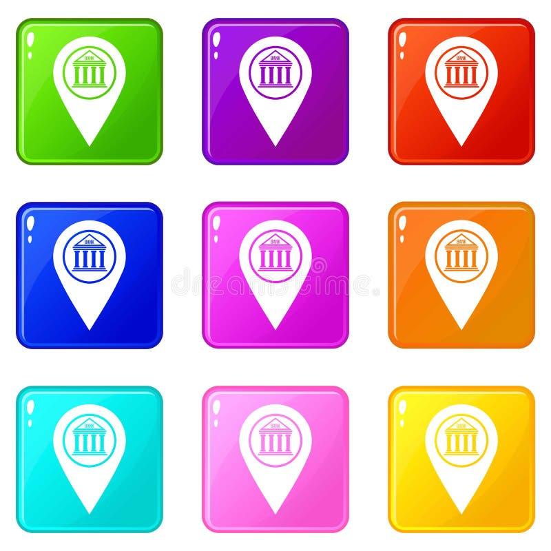 Sistema de los iconos 9 del perno del mapa libre illustration