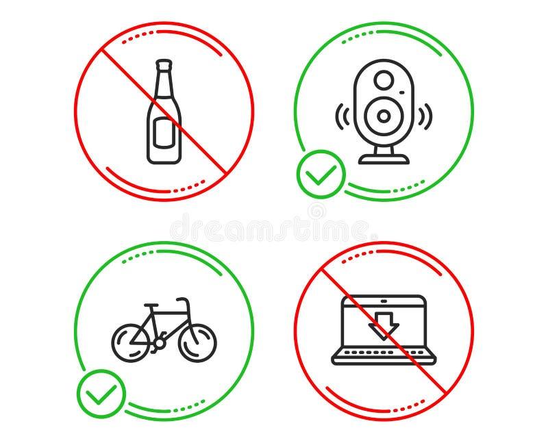 Sistema de los iconos del Presidente, de la cerveza y de la bicicleta Muestra de la transferencia de Internet Sonido de la música stock de ilustración