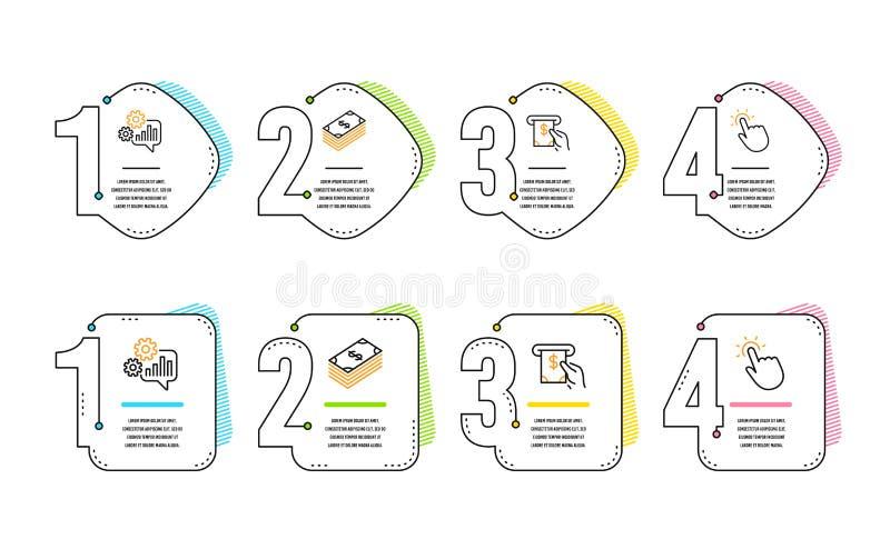 Sistema de los iconos del servicio del dólar, de la rueda dentada y de la atmósfera muestra del touchpoint Usd de moneda, herrami libre illustration