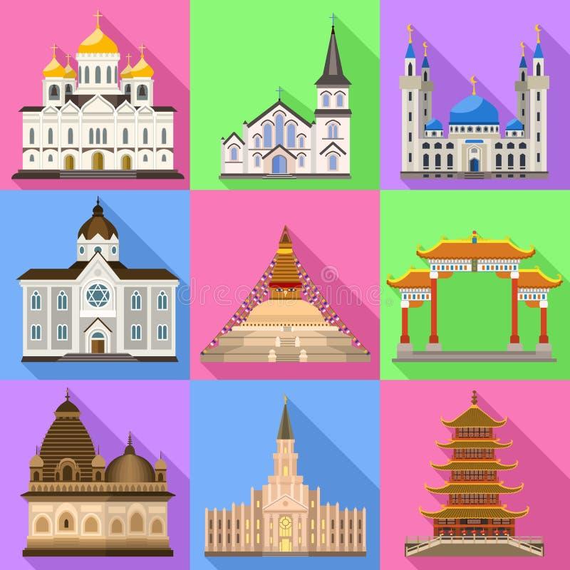 Sistema de los iconos del templo, estilo plano ilustración del vector