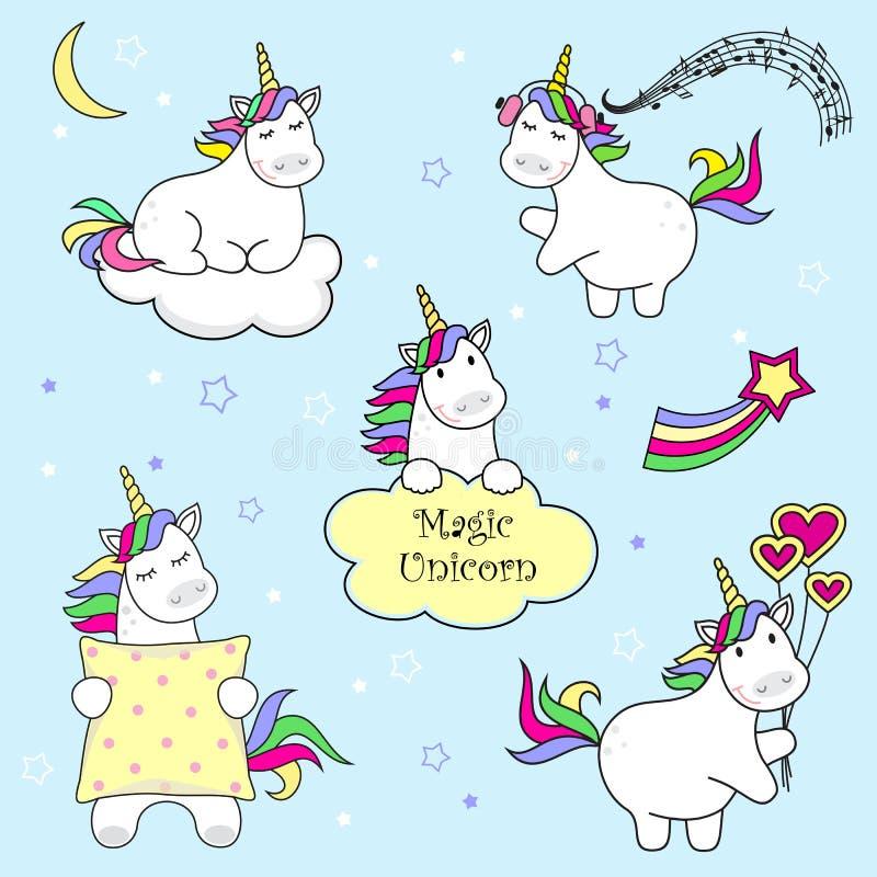 Sistema de los iconos del unicornio, de arco iris y de las estrellas lindos, ejemplo del niño, diseño de la historieta ilustración del vector