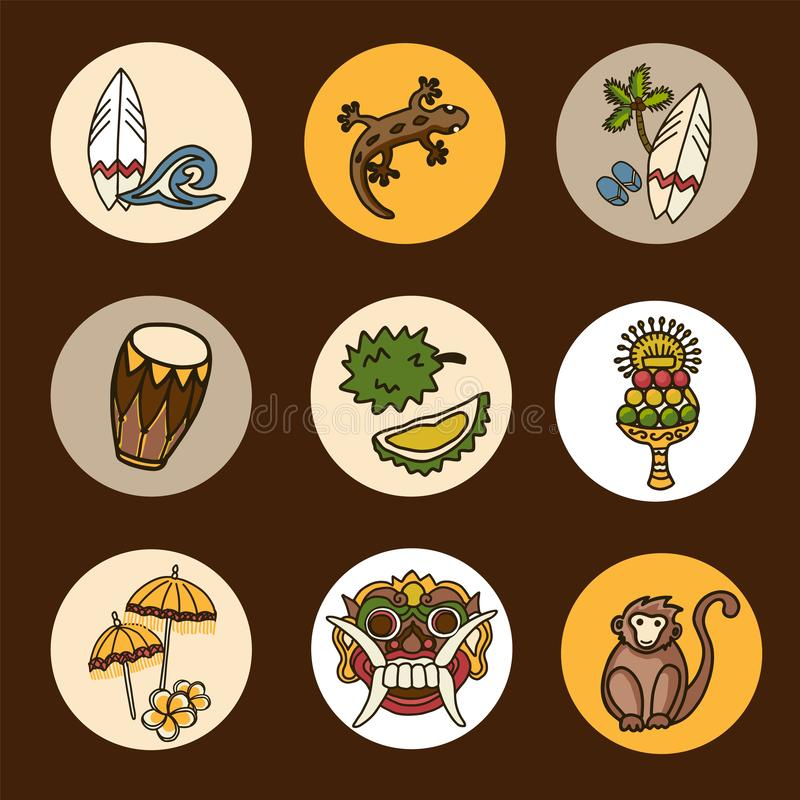 Sistema de los iconos del vector de Bali foto de archivo