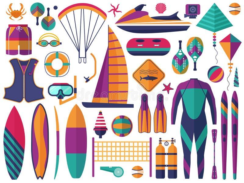 Sistema de los iconos de los deportes acuáticos de la playa libre illustration