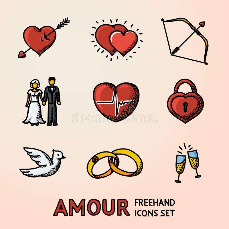 Sistema de los iconos dibujados mano con - la flecha del corazón, dos corazones, arco del cupido, par, pulso, armario, pájaro, an stock de ilustración