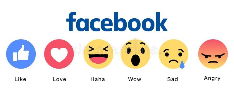 Sistema de los iconos de Facebook Emoji stock de ilustración