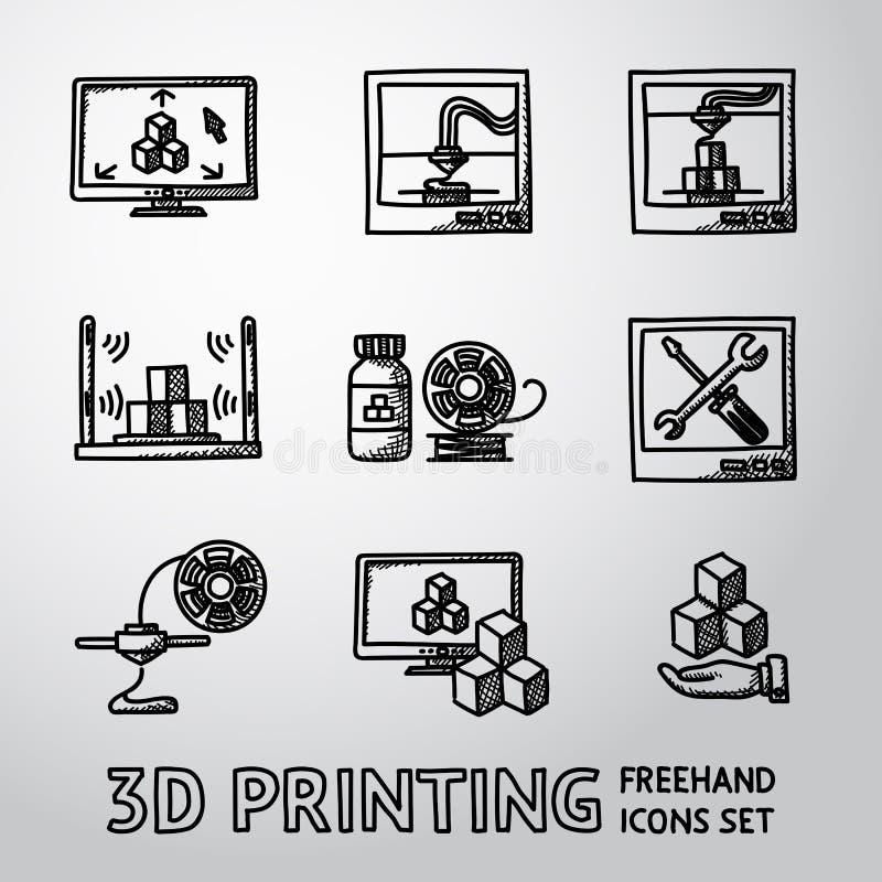 Sistema de los iconos handdrawn de la impresión 3D - impresoras, PC ilustración del vector