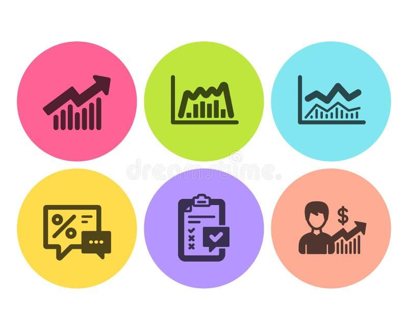 Sistema de los iconos infochart, de la curva comerciales de la lista de control y de demanda Gráfico de los descuentos, de Infogr ilustración del vector