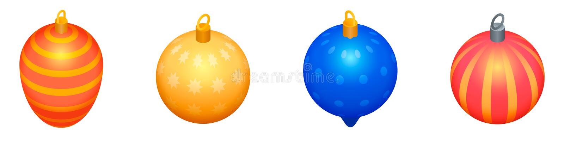 Sistema de los iconos de los juguetes del ?rbol de navidad, estilo isom?trico ilustración del vector