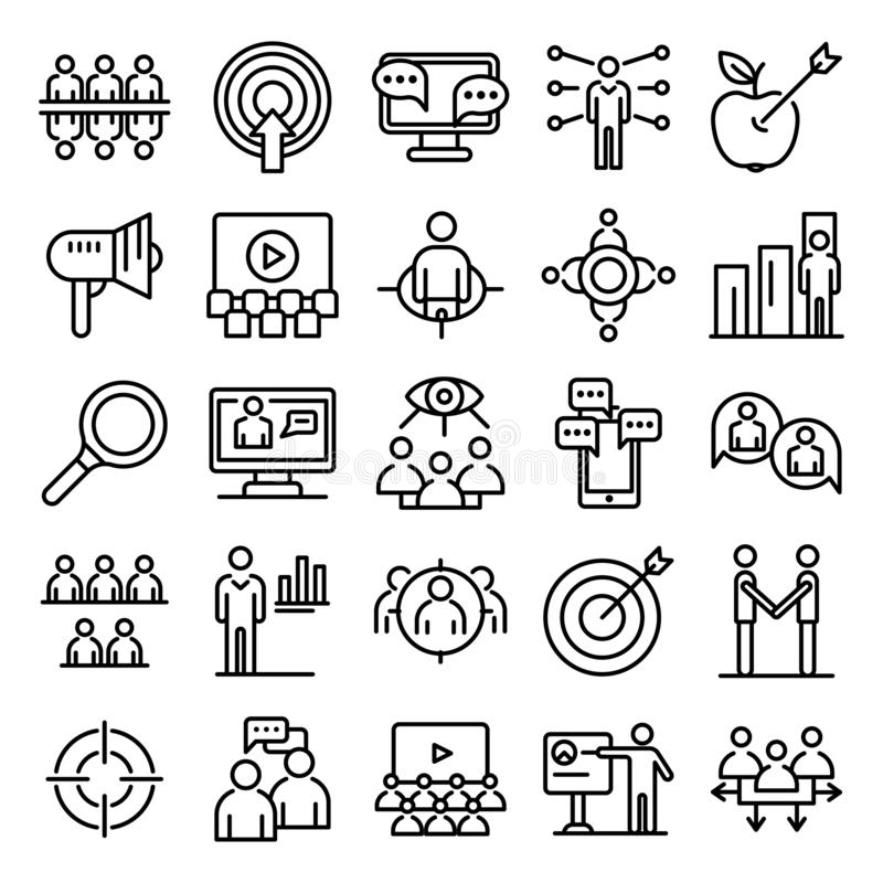 Sistema de los iconos de la audiencia, estilo del esquema stock de ilustración