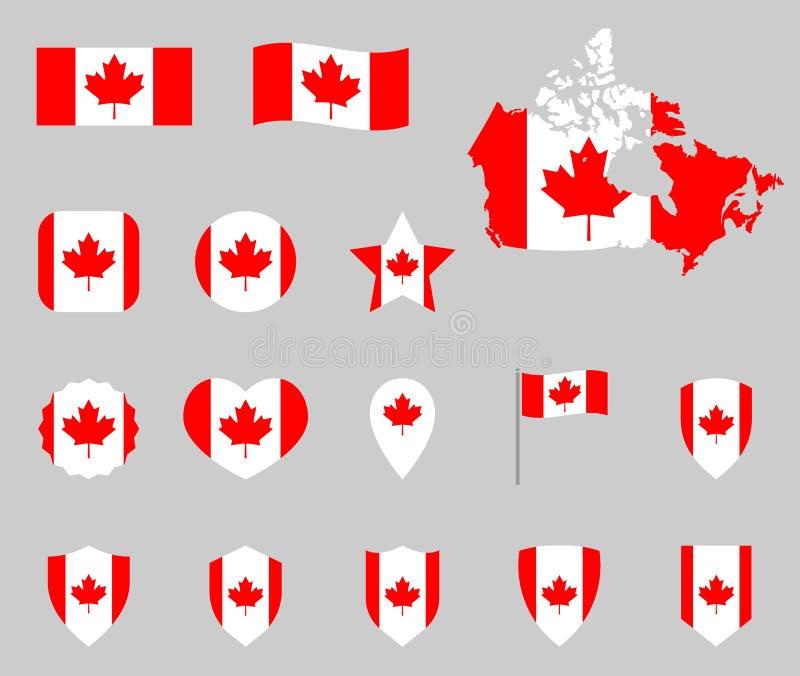 Sistema de los iconos de la bandera de Canadá, símbolos canadienses de la bandera stock de ilustración