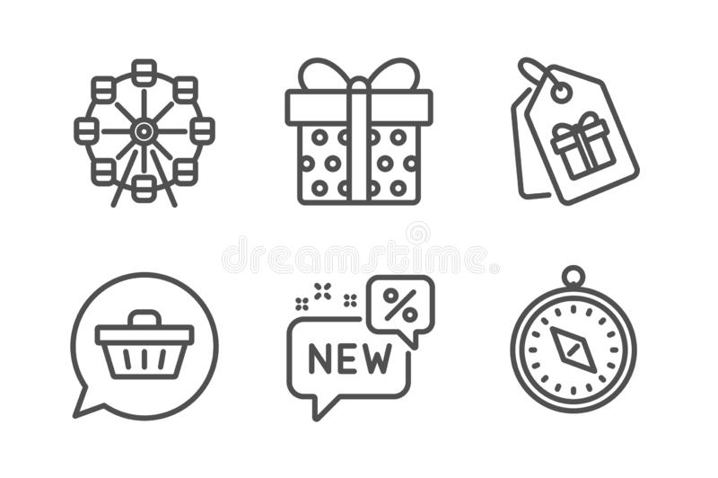 Sistema de los iconos de la caja del carro de la compra, de la noria y de regalo Nuevas y del viaje del comp?s muestras de los va libre illustration