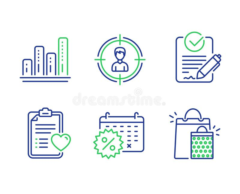 Sistema de los iconos de la carta el buscar, del Rfp y del gráfico Historia paciente, descuentos del calendario y muestras de los stock de ilustración