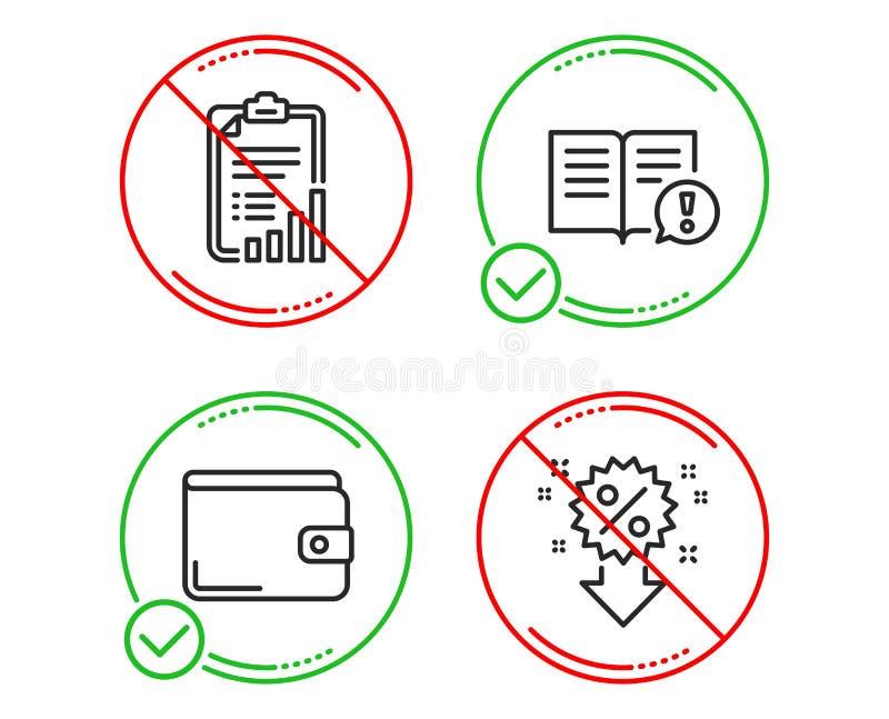 Sistema de los iconos de la cartera de los hechos, de la lista de control y del dinero Muestra del descuento Vector ilustración del vector