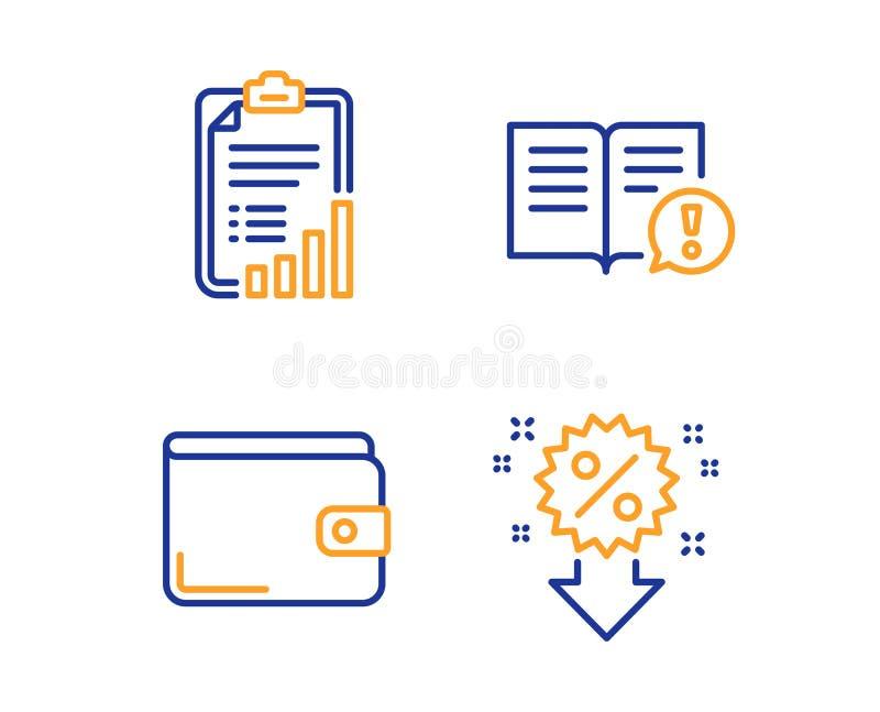 Sistema de los iconos de la cartera de los hechos, de la lista de control y del dinero Muestra del descuento Vector stock de ilustración