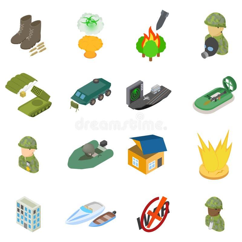 Sistema de los iconos de la ciencia militar, estilo isométrico libre illustration
