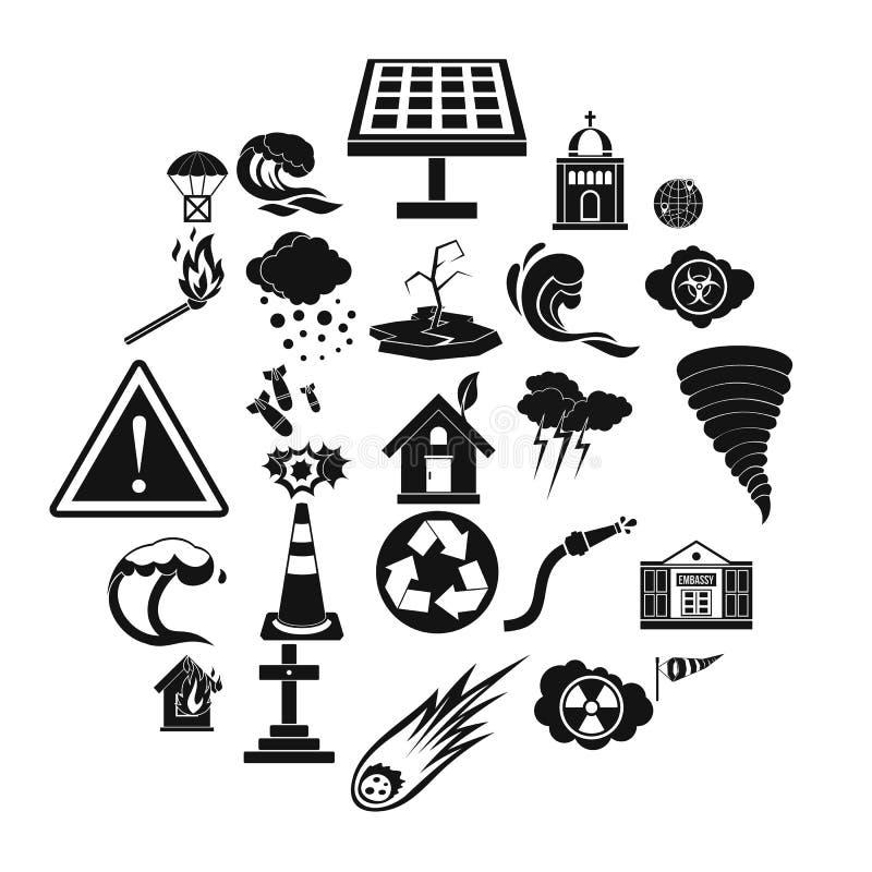 Sistema de los iconos de la denuncia, estilo simple stock de ilustración
