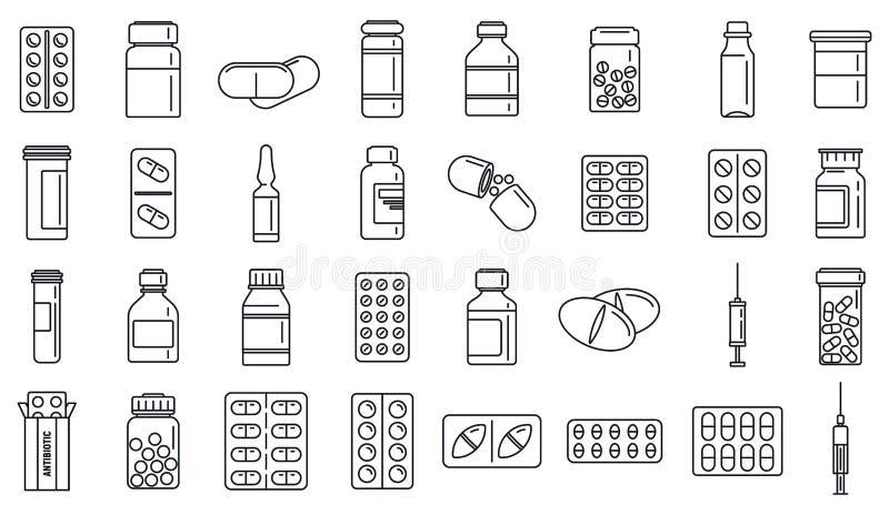 Sistema de los iconos de la droga antibiótico, estilo del esquema ilustración del vector