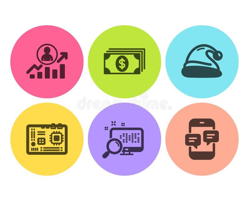 Sistema de los iconos de la escalera de la placa madre, de la búsqueda y de la carrera Sombrero de las actividades bancarias, de  stock de ilustración