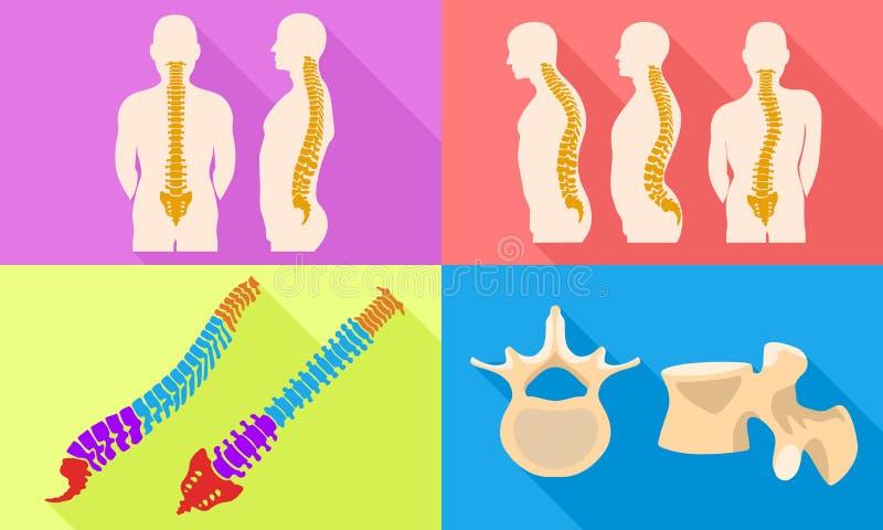 Sistema de los iconos de la espina dorsal, estilo plano stock de ilustración