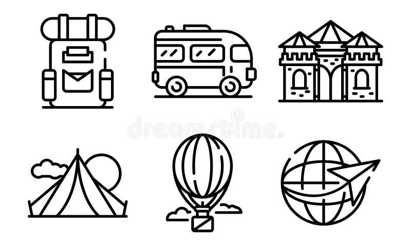 Sistema de los iconos de la excursión, estilo del esquema libre illustration