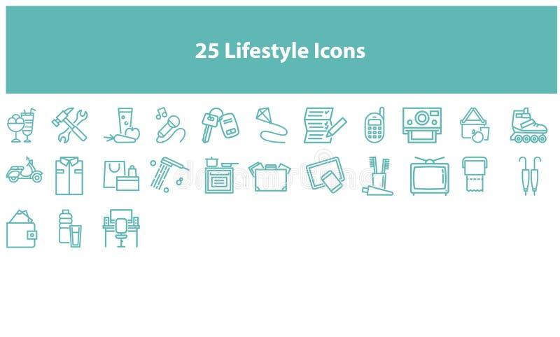 Sistema de los iconos de la forma de vida del vector de Torquoise stock de ilustración