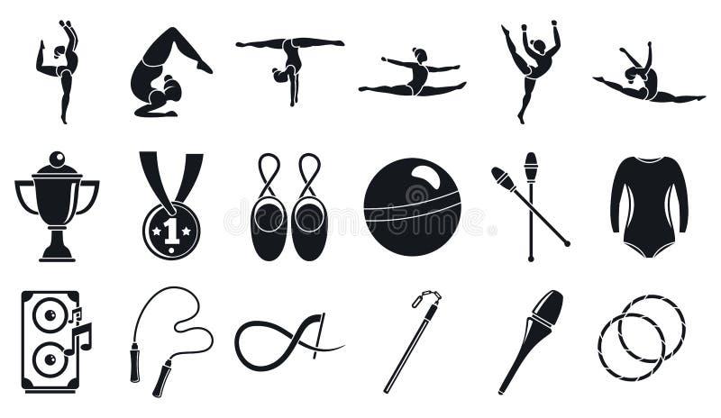 Sistema de los iconos de la gimnasia r?tmica del deporte, estilo simple ilustración del vector