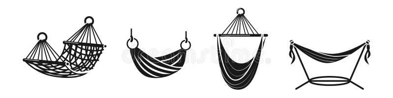 Sistema de los iconos de la hamaca, estilo simple ilustración del vector