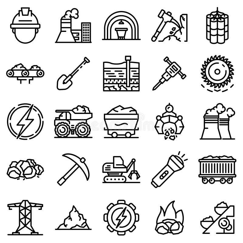 Sistema de los iconos de la industria hullera, estilo del esquema libre illustration