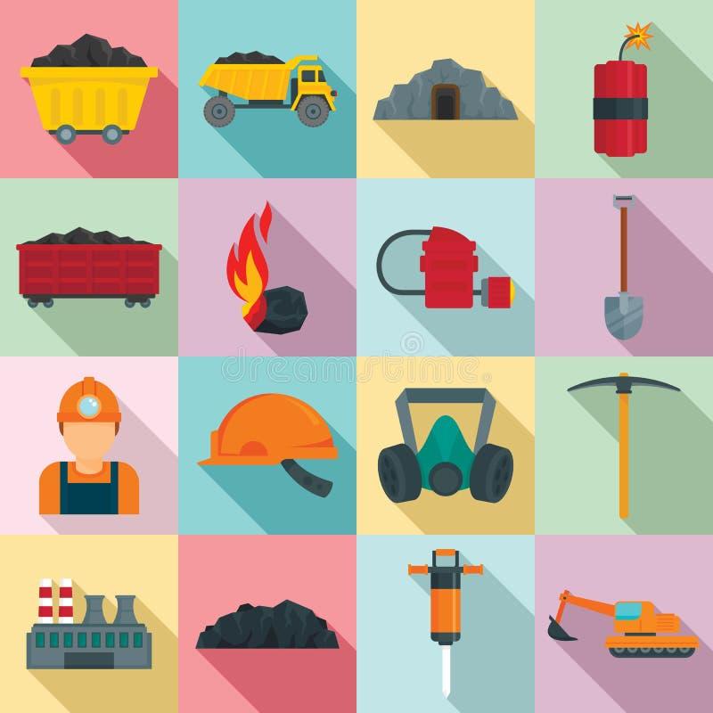 Sistema de los iconos de la industria hullera, estilo plano stock de ilustración