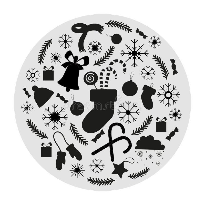Sistema de los iconos de la Navidad para las decoraciones stock de ilustración