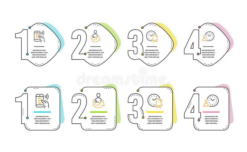 Sistema de los iconos de la paga de la alarma, de la parte y de Bitcoin Muestra de la gesti?n de tiempo Tiempo, persona de la rem libre illustration