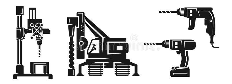 Sistema de los iconos de la perforadora, estilo simple stock de ilustración