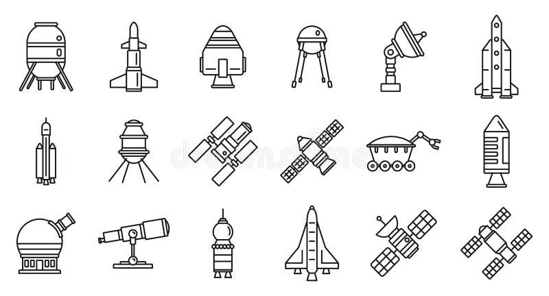 Sistema de los iconos de la tecnología de la investigación del espacio del planeta, estilo del esquema stock de ilustración