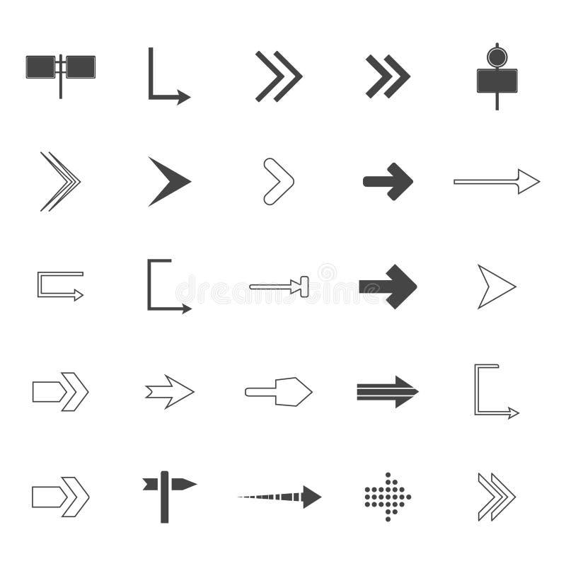 sistema de los iconos de las flechas de la dirección Iconos de las señales de tráfico fijados Ilustración del vector libre illustration
