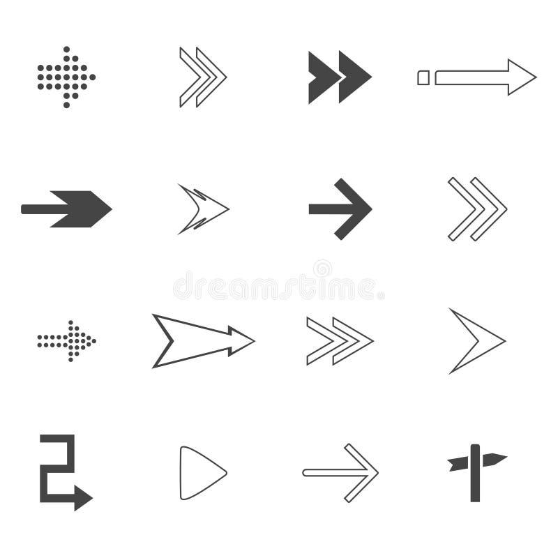sistema de los iconos de las flechas de la dirección Iconos de las señales de tráfico fijados Ilustración del vector stock de ilustración