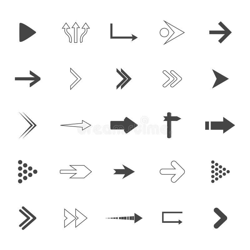 sistema de los iconos de las flechas de la dirección Iconos de las señales de tráfico fijados Ilustración del vector ilustración del vector