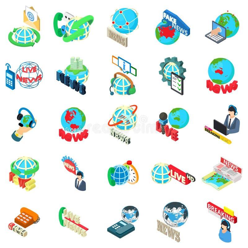 Sistema de los iconos de las noticias de mundo, estilo isométrico stock de ilustración