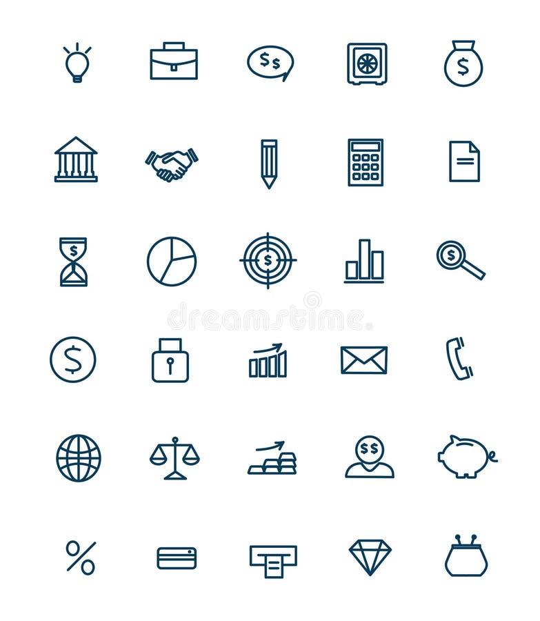 Sistema de los iconos lineares del web para el negocio, finanzas ilustración del vector