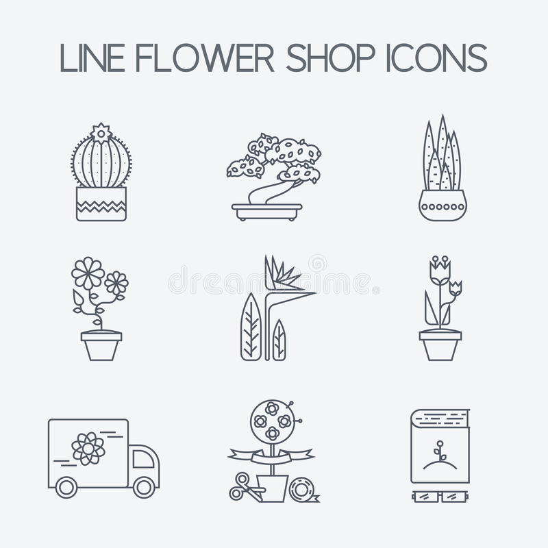 Sistema de los iconos lineares para la flor o la floristería libre illustration