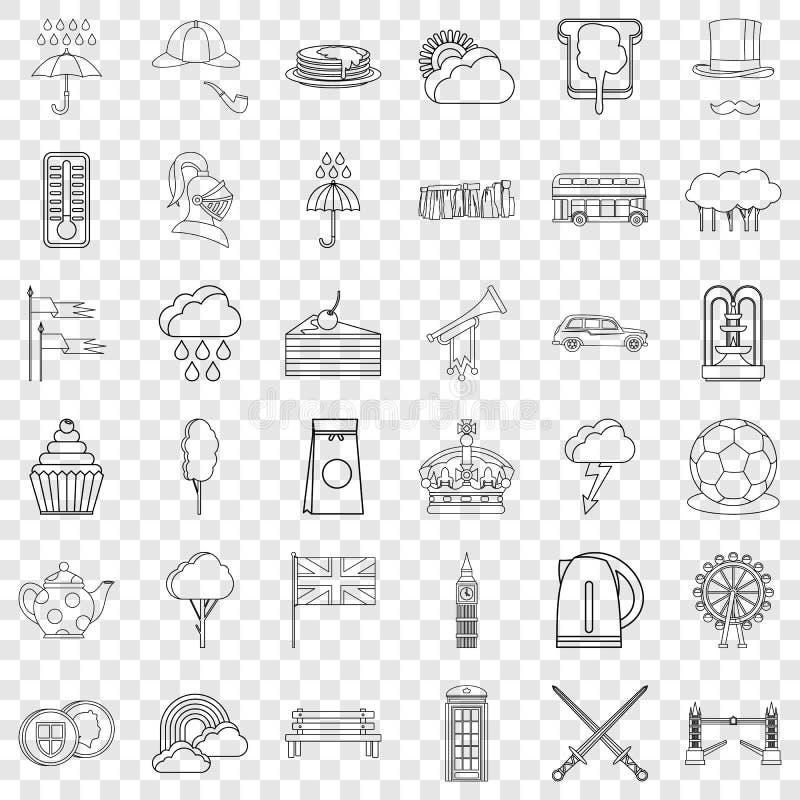 Sistema de los iconos de Londres, estilo del esquema stock de ilustración