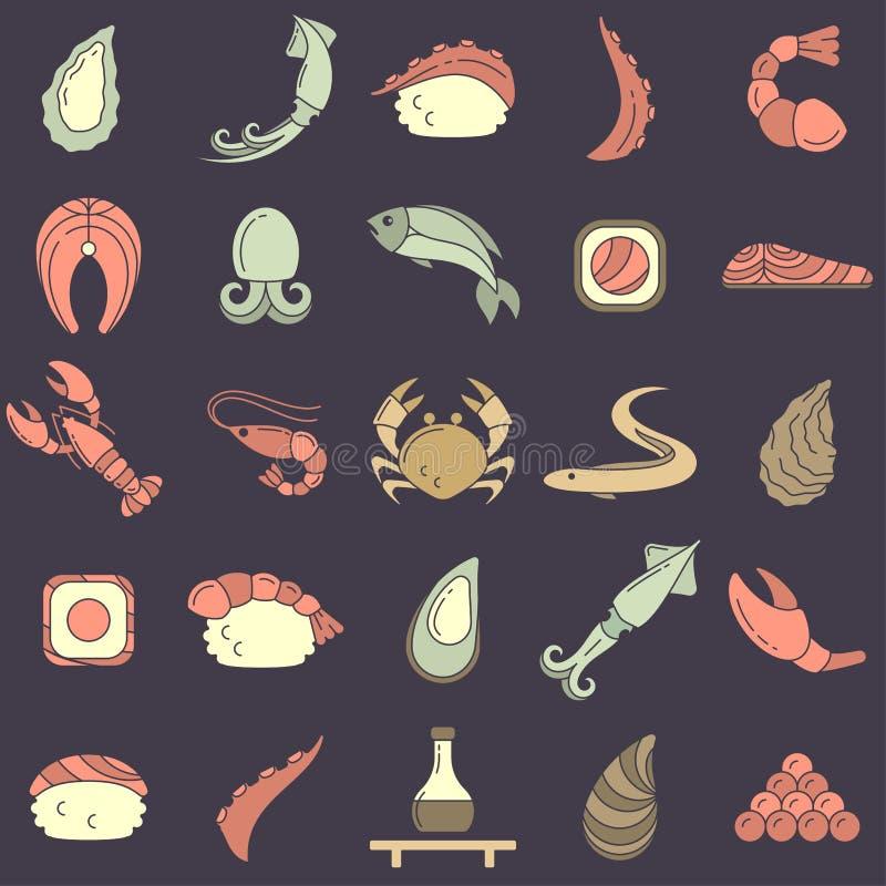 Sistema de los iconos de mariscos y de cocina asiática en estilo plano libre illustration