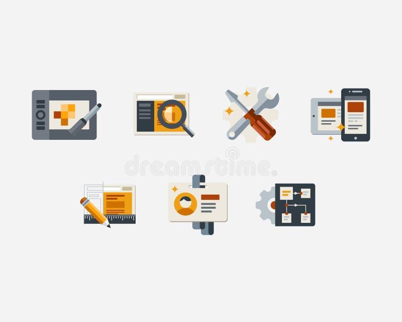 Sistema de los iconos para el desarrollo web, optimización del seo stock de ilustración