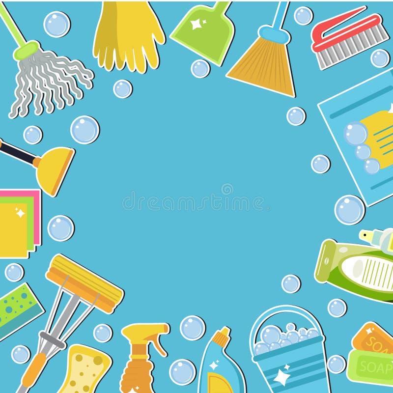 Sistema de los iconos para las herramientas de limpieza Plantilla de la limpieza para el texto, fondo Estilo plano del diseño Ele libre illustration
