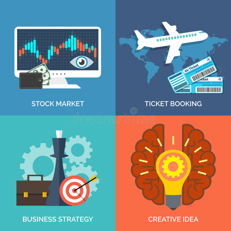 Sistema de los iconos planos del concepto de diseño para el negocio libre illustration
