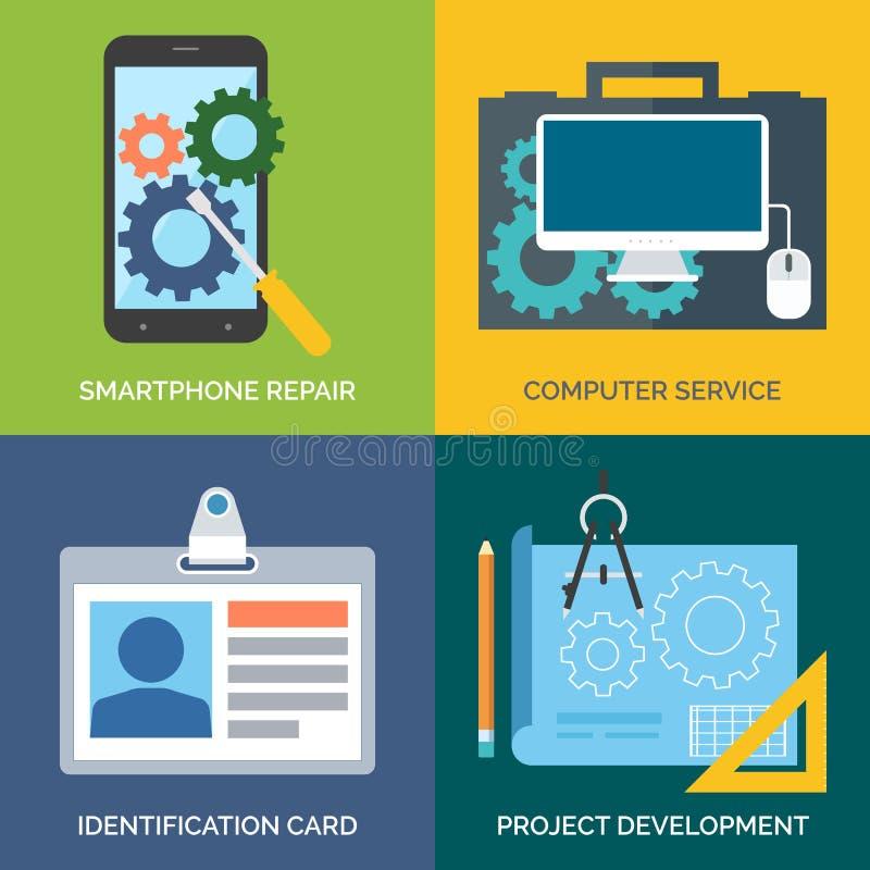 Sistema de los iconos planos del concepto de diseño para el negocio Reparación de Smartphone stock de ilustración