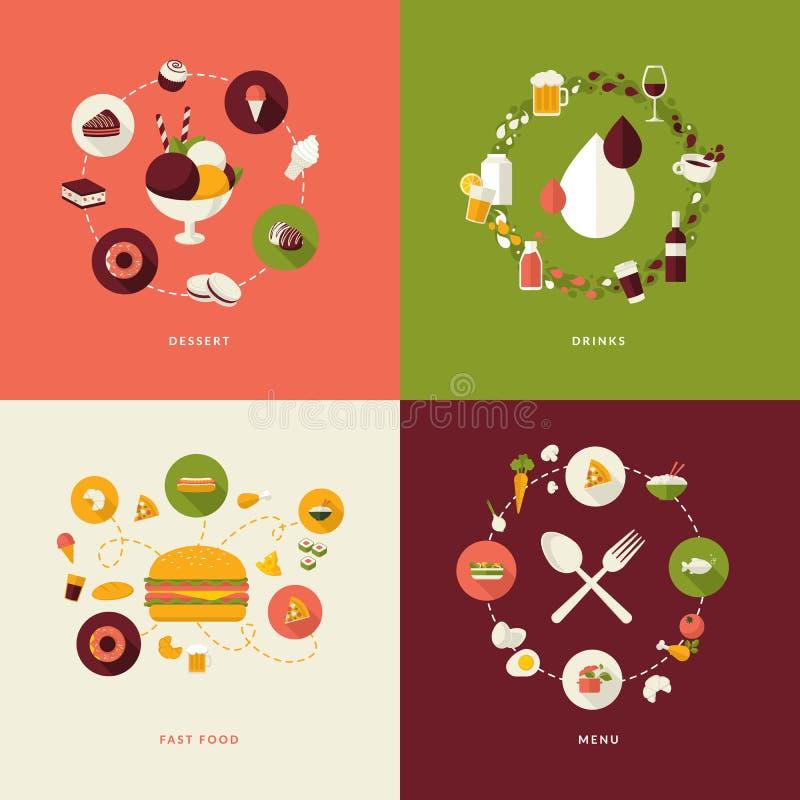Sistema de los iconos planos del concepto de diseño para el restaurante stock de ilustración