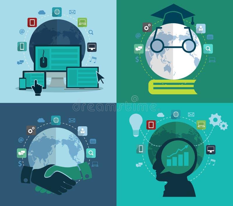 Sistema de los iconos planos del concepto de diseño para el web stock de ilustración